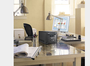 Shuttle business solutions are about one third the size of average desktop PCs